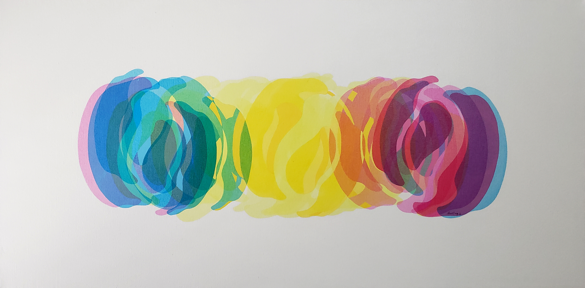 Light Spectrum    ///    Acrylic paint and serigraphy on canvas - 24 x 48 x 1.5 in - 2019