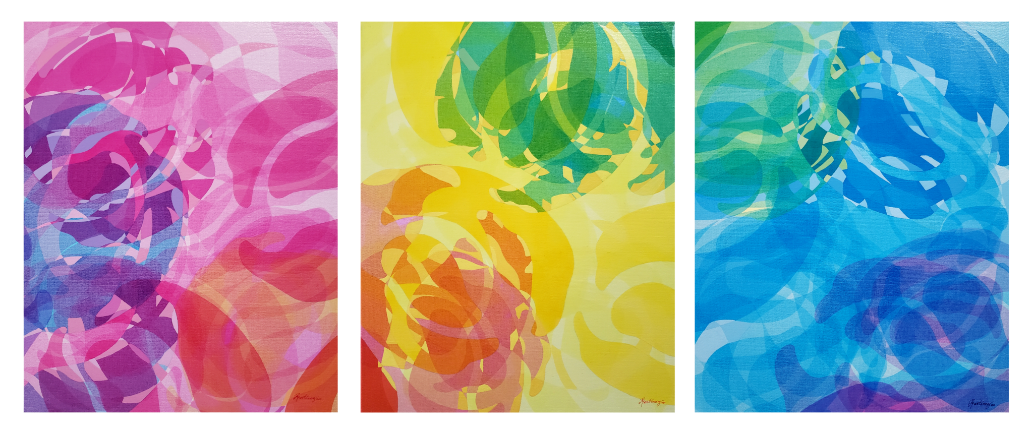 Colors in the wind discover (Search)    ///    Serigraphy and acrylic paint on canvas - 20 x 48 x 1.5 in (20 x 16 x 1.5 in each) - 2020